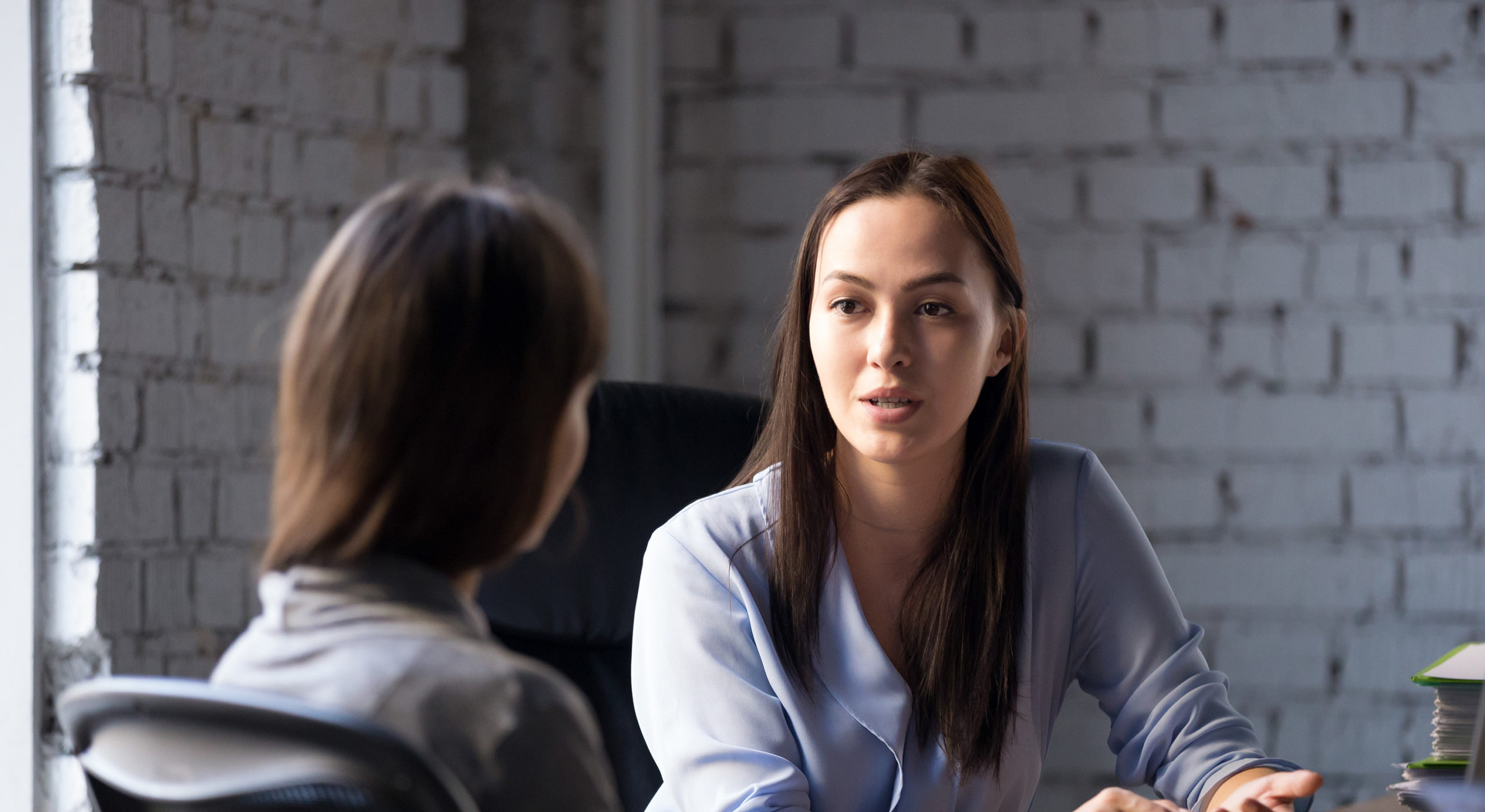 A business woman mentoring another woman