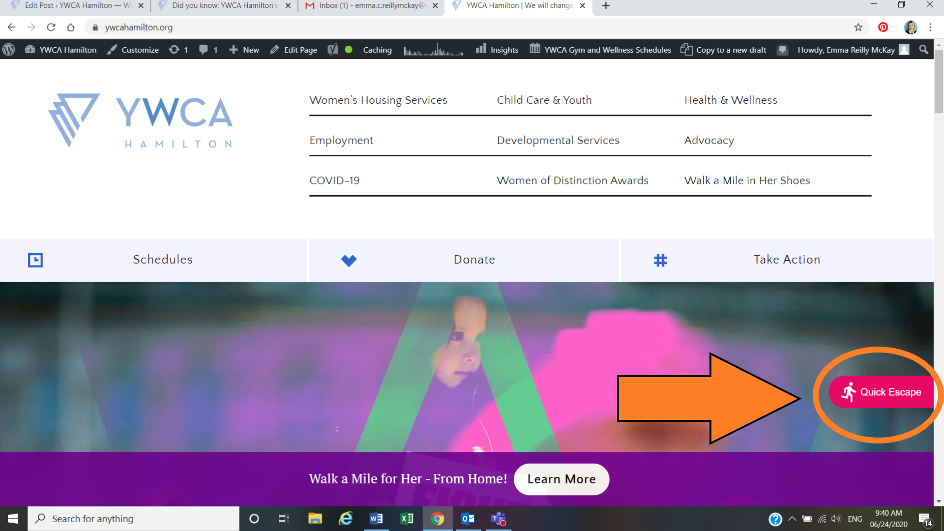 A screen grab of YWCA Hamilton's website with the Quick Escape Button clearly visible.