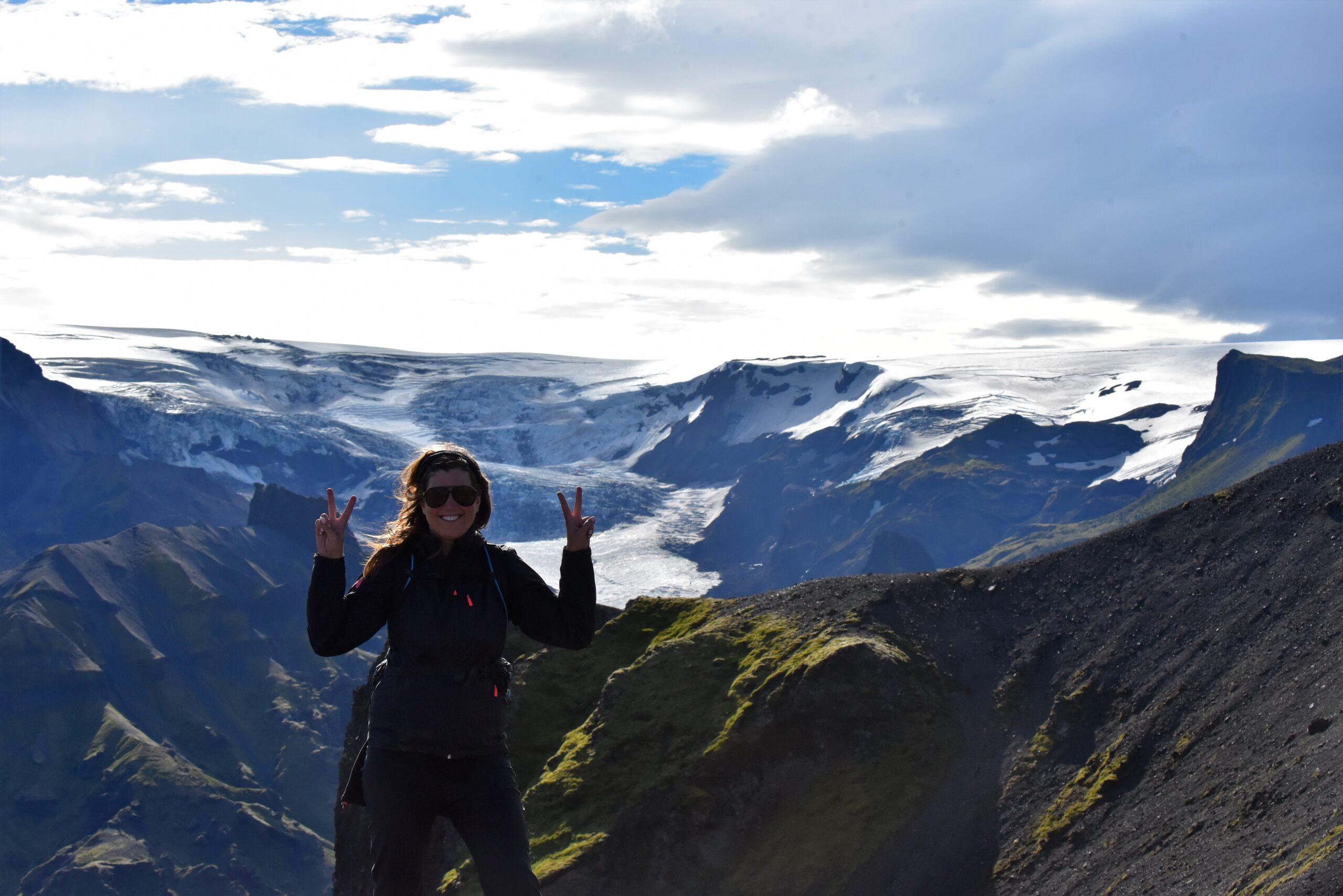 Rachelle trekking BC mountains